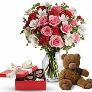red and pink roses with teddy and choc