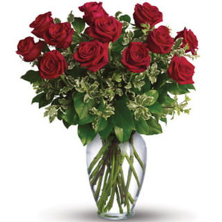 red roses in medium vase